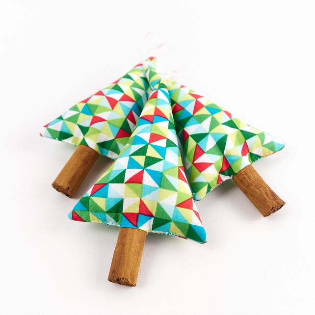 Three Modern Geometric Christmas Tree Decorations