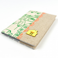 Kid's Passport Cover in Handprinted Little Village Fabric