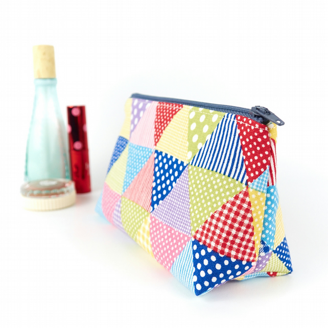 Small Linen Makeup Bag in Bright Triangles Teenage Girl Gift