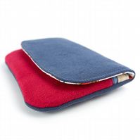 Phone Wallet Case in Red and Blue with Cath Kidston Cowboy Fabric