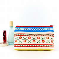 Boho Makeup Bag, Retro Floral Scandi Cosmetic Bag, Best Friend Gift