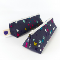 Dark Grey Pencil Case in Little Crosses Print, Back to School Gift for Teen
