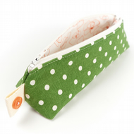 Green Polka Dot Linen Adult Pencil Case Mini Makeup Brush Pouch Stationary Gift