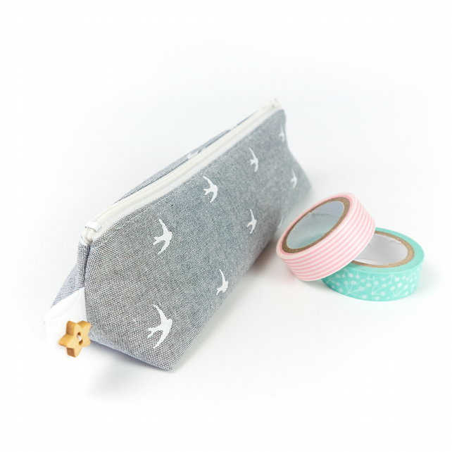 Blue and White Swallow Bird Fabric Pencil Case