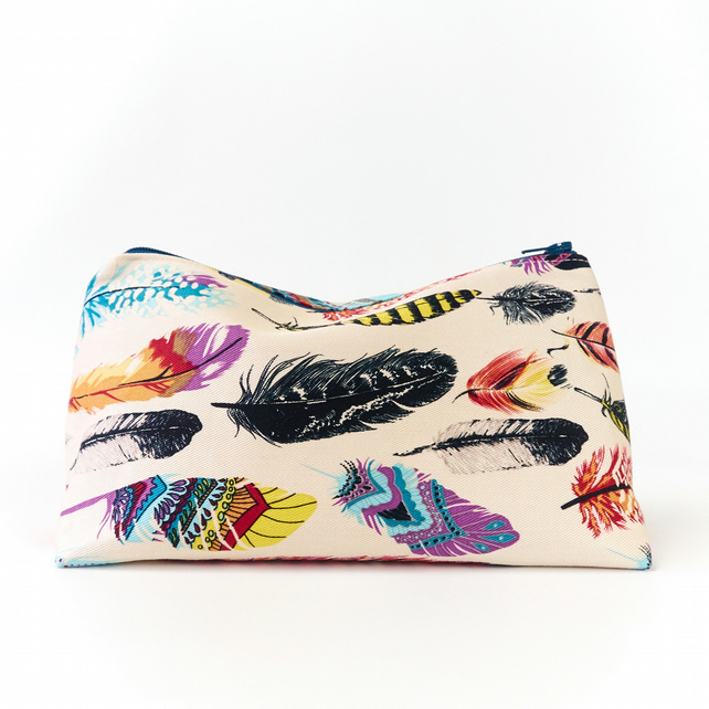 Large Cosmetic Bag in Bohemian Style Feather Print Fabric