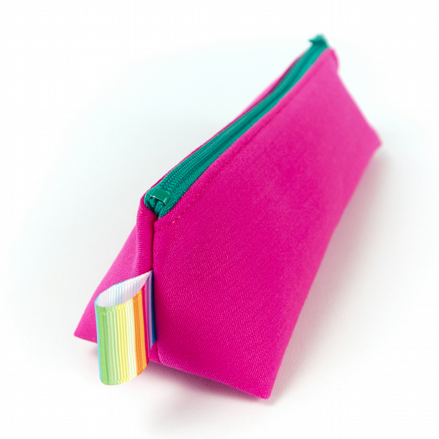 Small Cosmetic Bag or Pencil Case in Bright Pink Fabric
