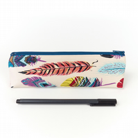 Feather Pencil Case, Small Boho Brush Pouch, Back to School Gift