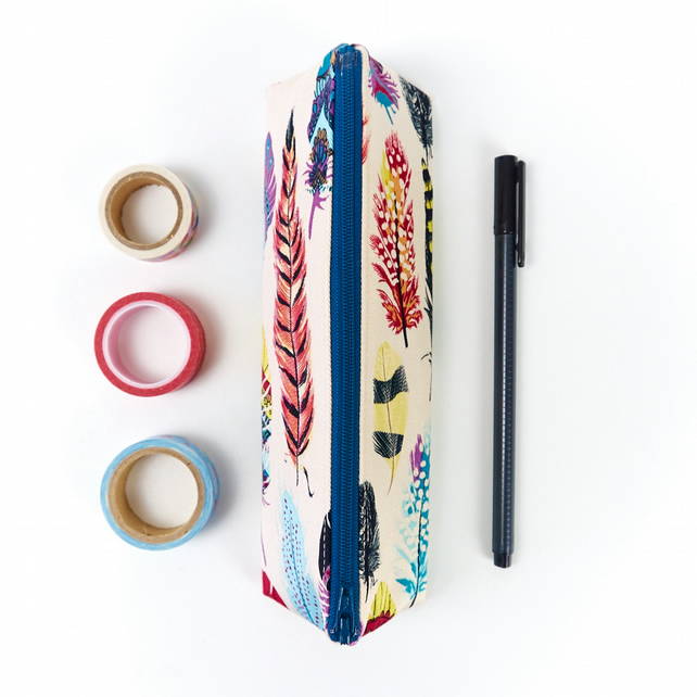 Boho Style Feather Print Fabric Pencil Case Gift for Teen Small Pencil Pouch