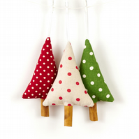 Rustic Cinnamon Christmas Tree Decorations Polka Dot Set of 3