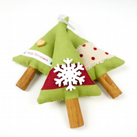 Set of Three Green Christmas Tree Decorations with Ribbon and Wooden Snowflake