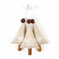 Rustic Natural Christmas Decorations with Jingle Bells - Set of 3