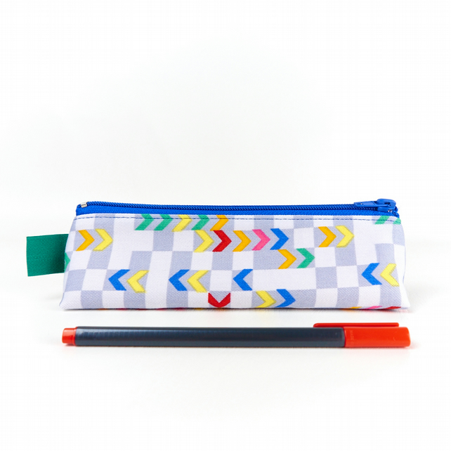 Colourful Pencil Case in Checked Chevron Fabric