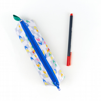 Blue Patterned Cool Pencil Case for Boys Small Coloured Zip Up Pencil Pouch Kids