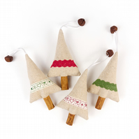Country Cottage Christmas Decorations - Set of 4