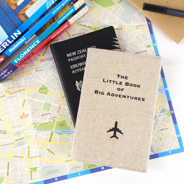 Handmade Passport Cover - The Little Book of Big Adventures - Natural