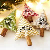 Customised Cinnamon Christmas Tree Decorations with Christmas Quotes