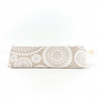 Linen Mandala Pencil Case, Boho Brush Pouch, Simple Stand Up Zipper Pouch