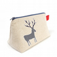 Linen Wash Bag with Deer Applique - Gift for Dad
