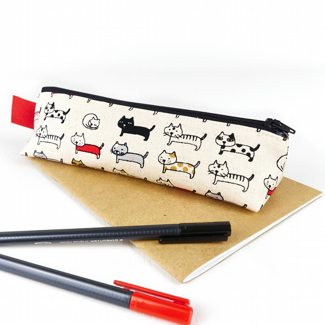 Cute Cat Fabric Pencil Case - Cat Lover Gift