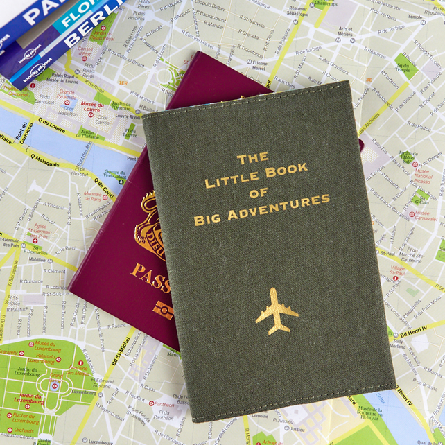 The Little Book of Big Adventures Passport Cover - Green & Gold - Traveller Gift