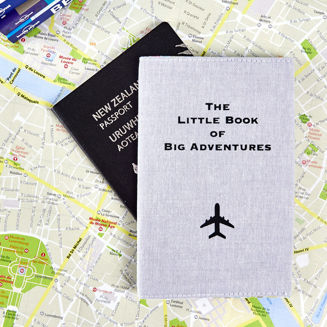 Grey Passport Cover The Little Book of Big Adventures Unique Cool Travel Gift