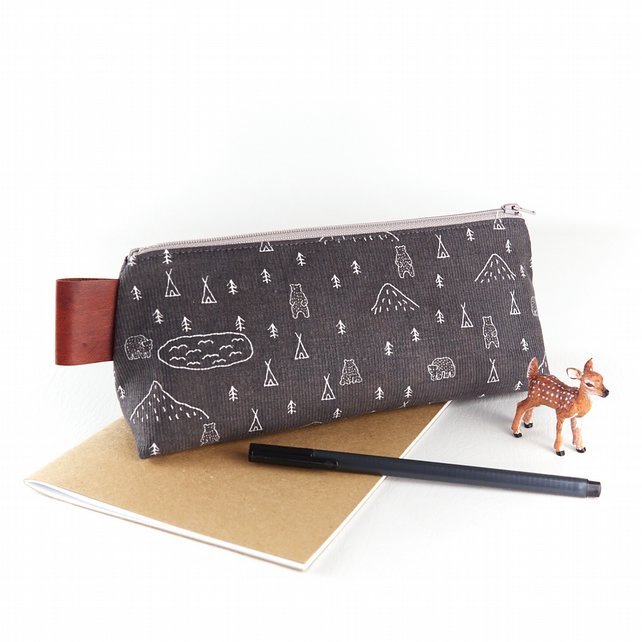 Large Pencil Case - Bears in the Woods - Men's Pencil Case