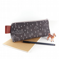 Woodland Camping Pencil Case, Large Grey Zipper Pouch, Gift for Guys