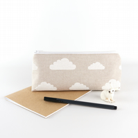 Fluffy Clouds Linen Pencil Case, Simple Zipper Pouch, Gift Under 20