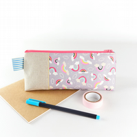 Pretty Pencil Case Pink Pastel Rainbow Fabric Cute Makeup Bag Gift for Girls