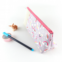 Pastel Rainbows and Clouds Stand Up Pencil Case, Gifts for Girls