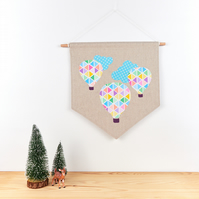 Hot Air Balloon Decoration, Baby Nursery Wall Decor, Children's Wall Art Banner