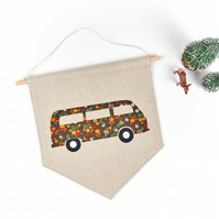 Vintage Fabric Camper Van Wall Hanging Hippie Living Room Decor