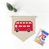 Red Double Decker Bus Hanging Wall Art, Transport Decor, Kids Room Decoration