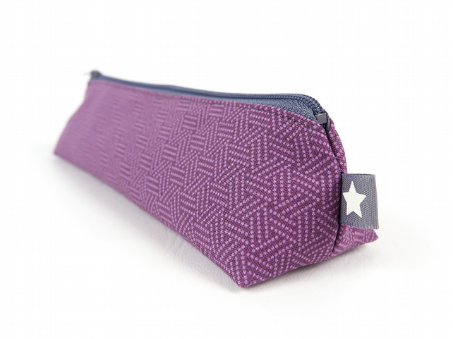 Simple Purple Pencil Case, Small Modern Zipper Pouch