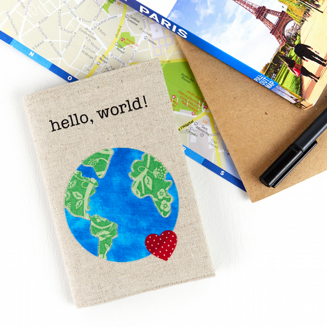 Hello, World! Passport Cover, Vegan Passport Sleeve, Travel Adventure Gift