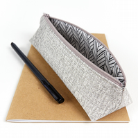 Metallic Silver Pencil Case, Brush Pouch, Gifts for Teens