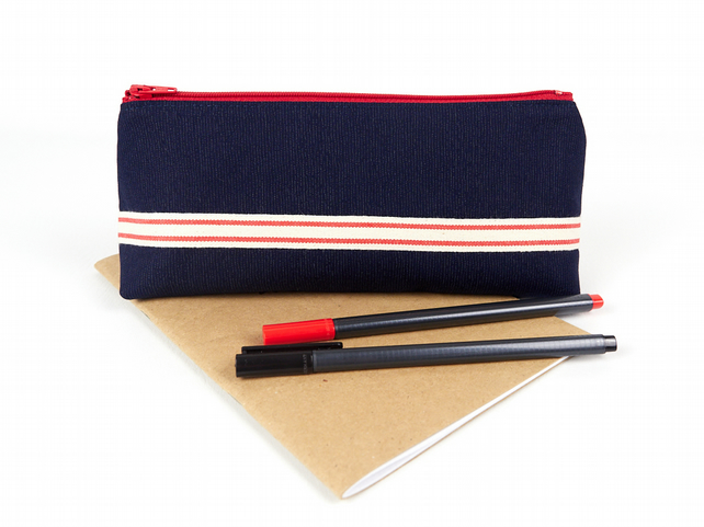 Blue & Red Large Fabric Pencil Case for Guys Stand Up Zipper Pouch