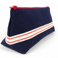 Large Red and Blue Fabric Pencil Case, Stand Up Pencil Pouch