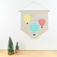 Hanging Hot Air Balloon Banner Modern Nursery Art Kids Room Decor