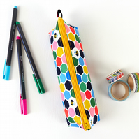 Bee Honeycomb Small Colourful Fabric Pencil Case or Brush Pouch