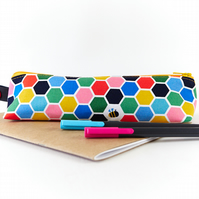 Honey Bee Pencil Case, Colourful Honeycomb Print Zipper Pouch