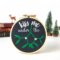 Kiss Me Under the Mistletoe Hanging Christmas Decoration Holiday Decor