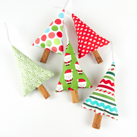 Set of 5 Cute Colourful Scented Cinnamon Christmas Tree Decorations