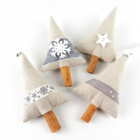 Set of 4 Silver and White Boho Luxe Christmas Tree Decorations with Cinnamon