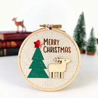 Merry Christmas Hoop Decoration with Reindeer, Modern Christmas Decor