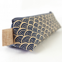 Small Pencil Case in Japanese Blue Wave Fabric