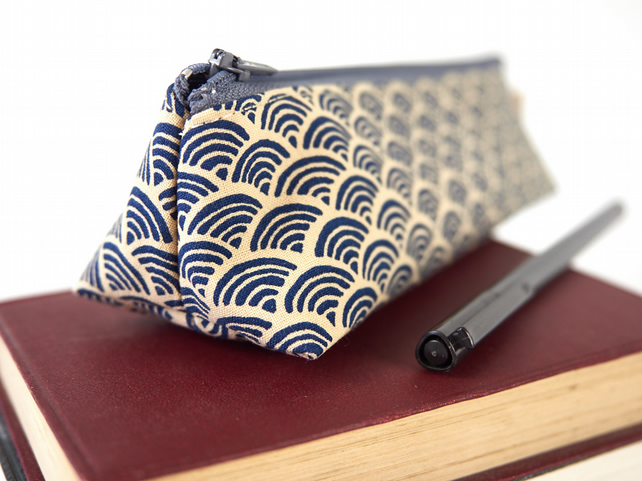 Japanese Blue Wave Fabric Small Pencil Case Zipped Pouch Japan Gift