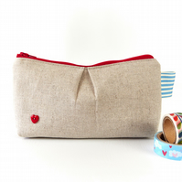 Pleated Linen Zipper Pouch with Red Heart, Medication Pouch, Small Makeup Bag