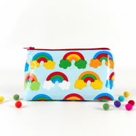 Rainbow Zipper Pouch, Oilcloth Bag, Small Cosmetic or Medication Bag