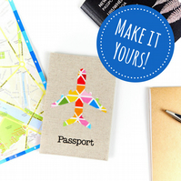 Customisable Airplane Passport Cover, Colourful Personalised Travel Gift